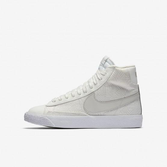 Nike Blazer Mid Lifestyle Shoes Girls Summit White/White/Light Bone (127DYCFB)