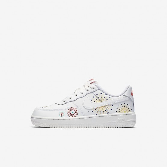Nike Air Force 1 Lifestyle Shoes Boys Summit White/Habanero Red/Kinetic Green (174RQTWH)