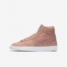 Nike Blazer Mid Lifestyle Shoes Girls Coral Stardust/Gum Light Brown/White/Rust Pink (190FZHWI)