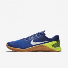 Nike Metcon 4 Training Shoes Mens Volt/Racer Blue/Gum Medium Brown/White (206RUPGI)