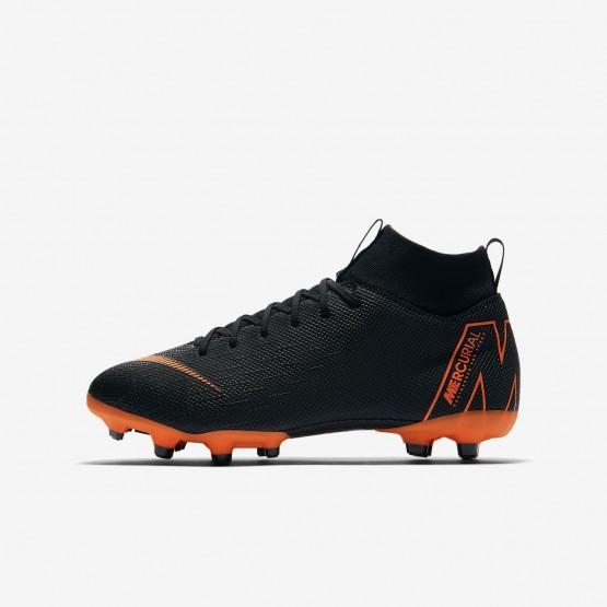 Nike Jr. Superfly VI Soccer Cleats Boys Black/White/Total Orange (210MVBHU)