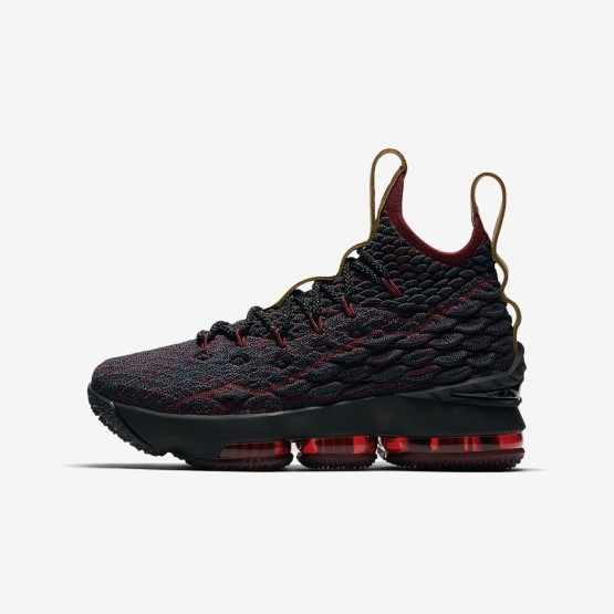 Nike LeBron 15 Basketball Shoes For Boys Dark Atomic Teal/Team Red/Muted Bronze/Ale Brown (220ITWFC)