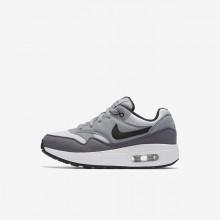 Chaussure Casual Nike Air Max 1 Garcon Blanche/Grise/Noir (229FTGBY)