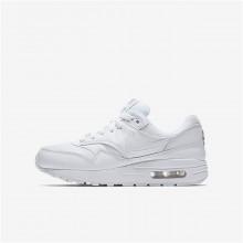 Chaussure Casual Nike Air Max 1 Garcon Blanche/Metal Argent (230LDECQ)