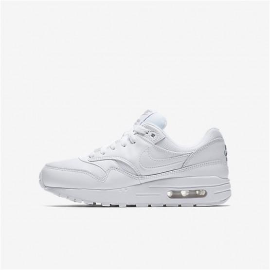 Nike Air Max 1 Lifestyle Shoes Boys White/Metallic Silver (230LDECQ)