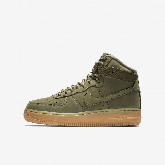 Nike Air Force 1 Lifestyle Shoes Boys Medium Olive/Gum Light Brown/Black (231ADJRH)