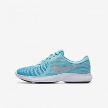 Nike Revolution 4 Hardloopschoenen Meisjes LichtBlauw/Wit/Metal Zilver (239HDFZB)