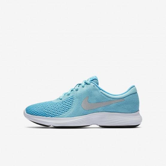 Nike Revolution 4 Running Shoes For Girls Bleached Aqua/Light Blue Fury/White/Metallic Silver (239HDFZB)