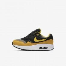 Chaussure Casual Nike Air Max 1 Garcon Foncé Noir/Jaune (245FVWIL)