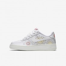 Nike Air Force 1 Lifestyle Shoes Boys Summit White/Habanero Red/Kinetic Green (246NROVF)