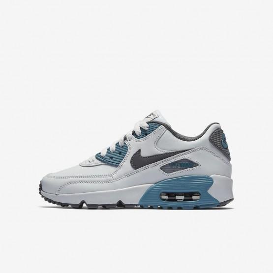 Nike Air Max 90 Lifestyle Shoes Boys Pure Platinum/Noise Aqua/Dark Grey/Cool Grey (248CBJEL)