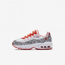 Nike Air Max 95 Lifestyle Shoes For Boys White/Black/Bright Crimson (248TBKXV)