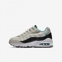Nike Air Max 95 Lifestyle Shoes For Boys Light Bone/Black/White/Sport Turquoise (254BJDWF)