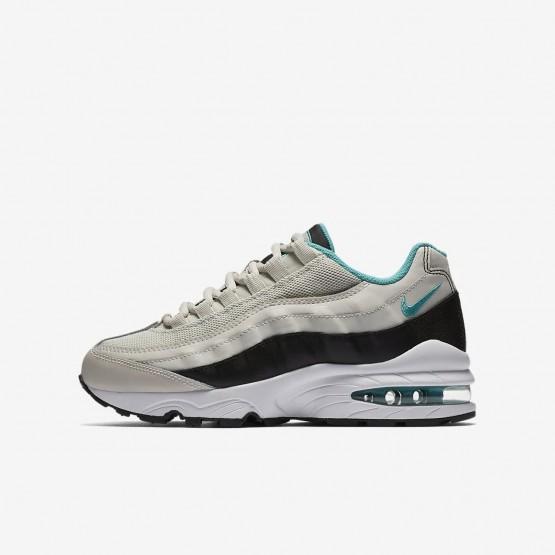 Chaussure Casual Nike Air Max 95 Garcon Clair Noir/Blanche/Turquoise (254BJDWF)