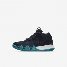 Nike Kyrie 4 Basketball Shoes For Girls Dark Obsidian/Black (271ULVQJ)