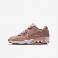 Nike Air Max 90 Lifestyle Shoes For Girls Coral Stardust/White/Gum Light Brown/Rust Pink (272OACQD)