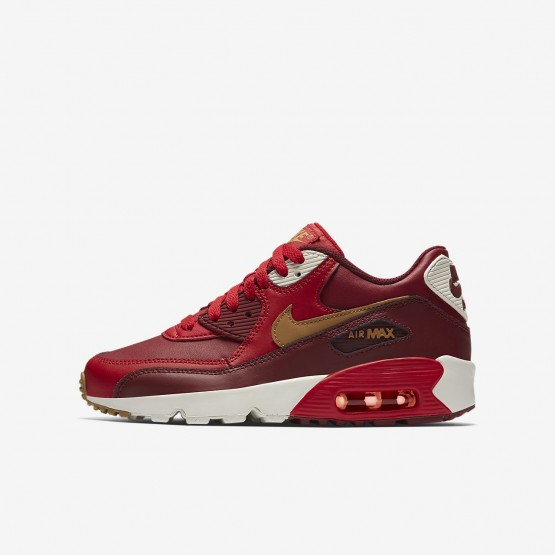 Nike Air Max 90 Lifestyle Shoes Boys Game Red/Team Red/Sail/Elemental Gold (276MCXWU)
