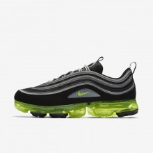 Nike Air VaporMax Lifestyle Shoes Mens Black/Metallic Silver/White/Volt (279OYQPB)