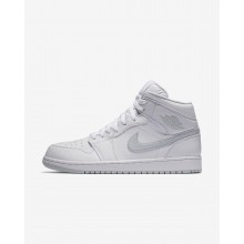 Air Jordan 1 Lifestyle Shoes Mens White/Pure Platinum (283MXFGW)