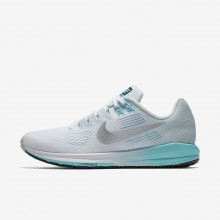 Nike Air Zoom Running Shoes For Women White/Glacier Blue/Polarized Blue/Metallic Silver (287WNARL)
