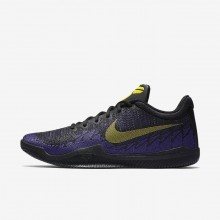 Nike Mamba Rage Basketball Shoes For Men Black/Court Purple/Tour Yellow (301AJZMK)