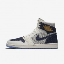 Air Jordan 1 Lifestyle Shoes Mens Sail/Midnight Navy/Metallic Gold (301XUYQF)