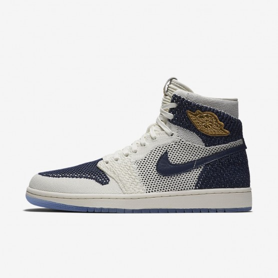 Air Jordan 1 Lifestyle Shoes For Men Sail/Midnight Navy/Metallic Gold (301XUYQF)