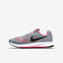 Nike Zoom Pegasus Running Shoes Girls Wolf Grey/Cool Grey/Racer Pink/Black (321IKRWV)