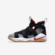 Nike LeBron Soldier XI Basketball Shoes For Boys Black/White/Atmosphere Grey/Team Orange (341HDVOM)