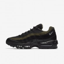 Nike Air Max 95 Lifestyle Shoes For Men Black/Cargo Khaki/Flat Silver (354SBJVK)