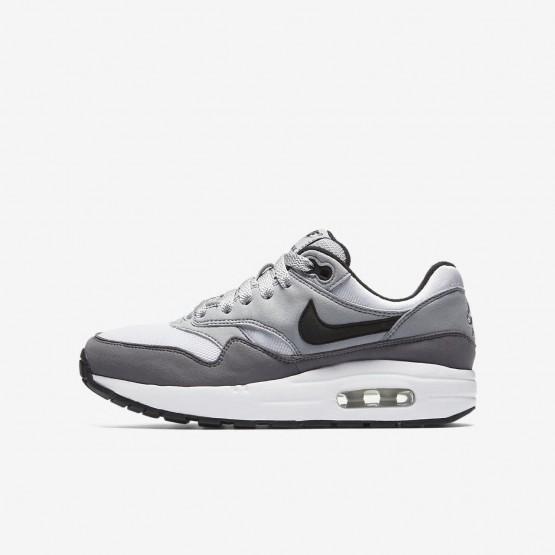 Nike Air Max 1 Lifestyle Shoes Boys White/Wolf Grey/Gunsmoke/Black (355JUWAL)