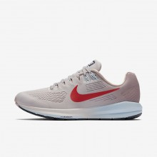 Nike Air Zoom Running Shoes Womens Vast Grey/Elemental Rose/Cobalt Tint/Habanero Red (363XISYO)