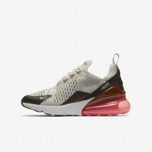 Nike Air Max 270 Lifestyle Shoes Boys Light Bone/Black/Hot Punch/White (416LWSKY)