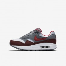 Chaussure Casual Nike Air Max 1 Garcon Blanche/Grise/Rouge/Rouge (419BGAHU)