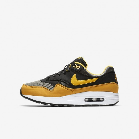 Nike Air Max 1 Lifestyle Shoes Boys Dark Stucco/Black/Mineral Yellow/Vivid Sulfur (420ONVGW)