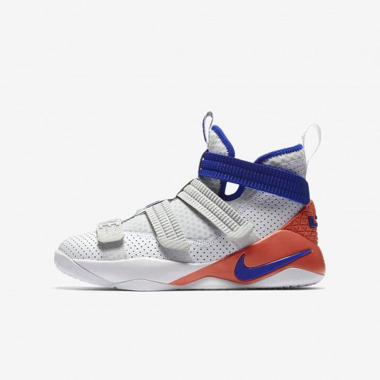Nike LeBron Soldier XI Basketball Shoes For Boys White/Infrared/Pure Platinum/Racer Blue (420OSPHT)