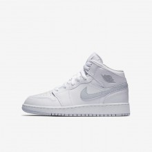 Air Jordan 1 Lifestyle Shoes Boys White/Pure Platinum (440NAYBP)