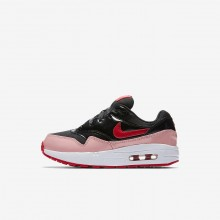 Nike Air Max 1 Lifestyle Shoes For Girls Black/Bleached Coral/Speed Red (443OXLCH)