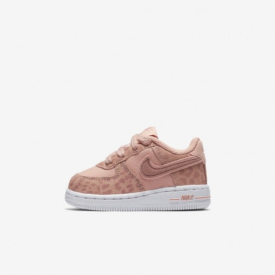 Nike Air Force 1 Lifestyle Shoes Girls Coral Stardust/White/Rust Pink (444PWSHC)
