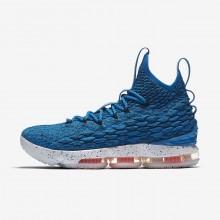 Nike LeBron 15 Basketbalschoenen Dames Blauw/Oranje/Wit (446MXBGR)