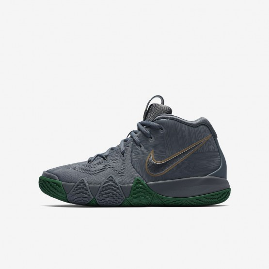 Nike Kyrie 4 Basketball Shoes For Boys Flat Silver/Metallic Gold (449CEGFO)