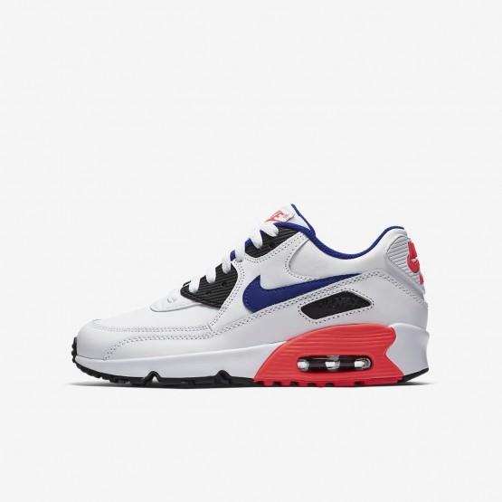 Nike Air Max 90 Lifestyle Shoes Boys White/Solar Red/Black/Ultramarine (451LAEDV)