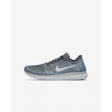 Nike Free RN Running Shoes For Boys Blue Fox/Wolf Grey/White/Pure Platinum (461JRGQC)