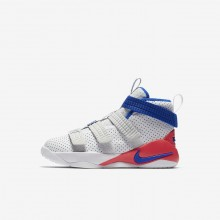 Nike LeBron Soldier XI Basketball Shoes For Boys White/Infrared/Pure Platinum/Racer Blue (483DWBAZ)