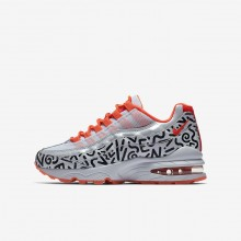 Nike Air Max 95 Lifestyle Shoes For Boys White/Black/Bright Crimson (487EYZHD)