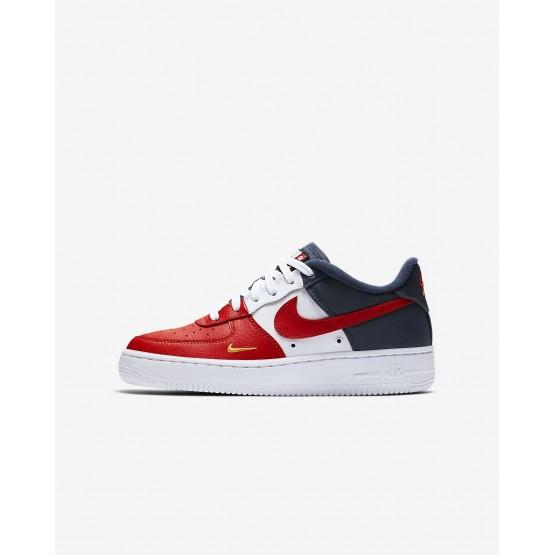 Nike Air Force 1 Lifestyle Shoes Boys University Red/Midnight Navy/University Gold (497BOMFZ)