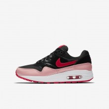 Nike Air Max 1 Lifestyle Shoes For Girls Black/Bleached Coral/Speed Red (497EFQAK)