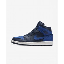 Air Jordan 1 Lifestyle Shoes Mens Obsidian/Summit White/Game Royal (522YEWLF)