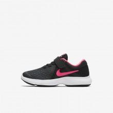 Nike Revolution 4 Running Shoes Girls Black/White/Racer Pink (525AXVRK)
