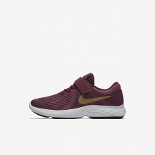 Nike Revolution 4 Running Shoes Girls Tea Berry/Bordeaux/White/Metallic Gold (534TOSDG)